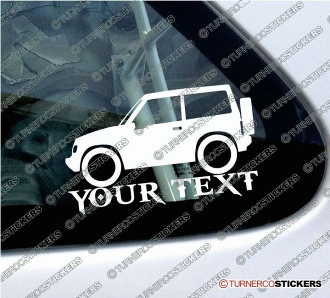2x Suzuki Sidekick / Vitara 2-Door Hardtop (1989-1998) 4x4 Silhouette CUSTOM TEXT stickers